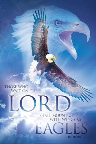 Christian wall art: ON EAGLES WINGS